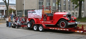 The Bucky Wagon rode on a flatbed during the 2009 Homecoming Parade.