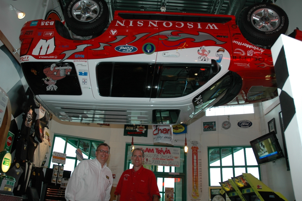 Future Truck hangs from the ceiling at Quaker Steak & Lube